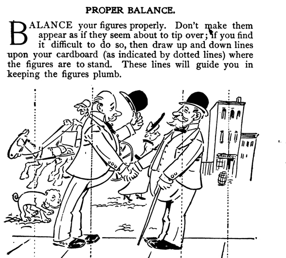 proper balance composition in comics cartoons caricatures and drawings