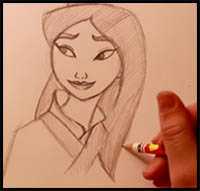 How To Draw Disney S Mulan Cartoon Characters Drawing Tutorials Drawing How To Draw Disney S Mulan Illustrations Drawing Lessons Step By Step Techniques For Cartoons Illustrations