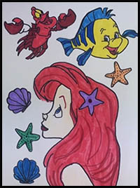 How to Draw The Little Mermaid Cartoon Characters ...  How to Draw The...