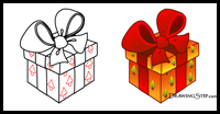 How To Draw Gifts Presents With Bows Wrapped With Easy Step By