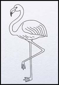 How To Draw Cartoon Flamingos Realistic Flamingos Drawing
