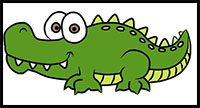 how to draw crocodile for kids