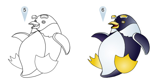 how to draw cartoon penguins
