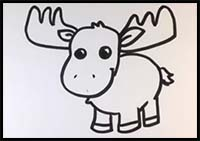 How to Draw Cartoon Moose & Realistic Moose : Drawing ...