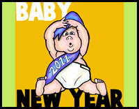 How to Draw Cartoon Baby New Year