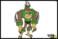 How to draw ben 10 cartoon characters drawing tutorials drawing kickin hawk is derived from a dna sample of unknown origins he resembles a hawk and a chicken kickin hawk is a strong fighter that can retract his talons altavistaventures Gallery