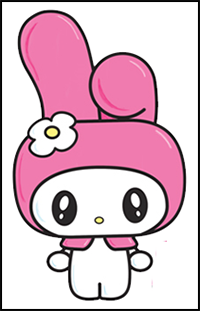 How To Draw Hello Kitty Cartoon Characters Drawing Tutorials Drawing How To Draw Hello Kitty Illustrations Drawing Lessons Step By Step Techniques For Cartoons Illustrations