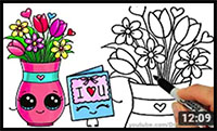 How to Draw a Vase with Flowers and Cute Card