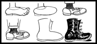 how to draw cartoon feet and shoes