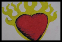 How to Draw Flaming Hearts with Flames and on Fire with ...