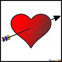 how to draw hearts with flames wings arrows with easy step by step