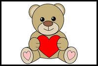 How To Draw Teddy Bears With Hearts With Easy Step By Step