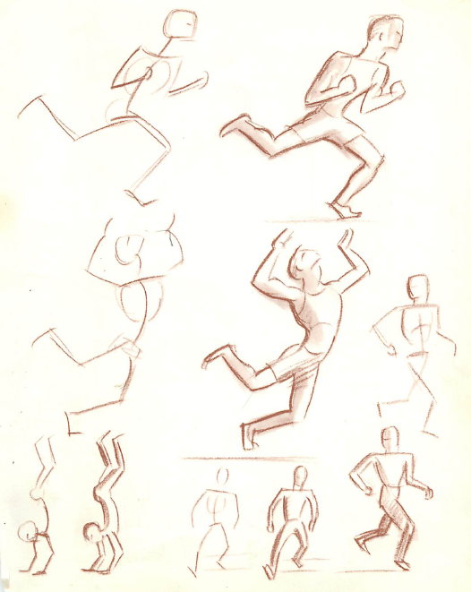 How to draw the movement of shapes and people 39 s figures for Body movement drawing