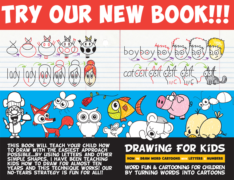 drawing for kids - drawing cartoons from words, letters, and numbers