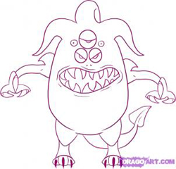 How to draw cartoon Monsters : How to Draw Monsters Step by Step