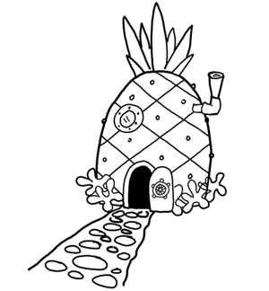 How to Draw Spongebob Squarepants' Pineapple House with Drawing Directions