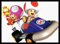 How to Draw Toad and Toadette Driving a Racecar