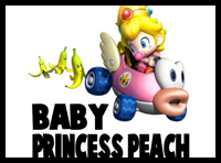 Drawing Baby Princess Peach from Wii Mario Kart