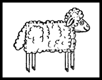 How to Draw Cartoon Sheep / Lambs for Preschoolers and Young Children