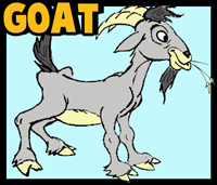 How to Draw Cartoon Billy Goats Step by Step Drawing Tutorial