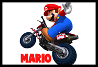 How to Draw Mario Driving a Motorcycle from Wii Mario Kart