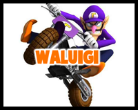 Drawing Waluigi Riding a Dirt Bike with Easy Steps