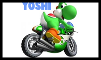 How to Draw Yoshi on a Motor Bike from Wii Mario Kart
