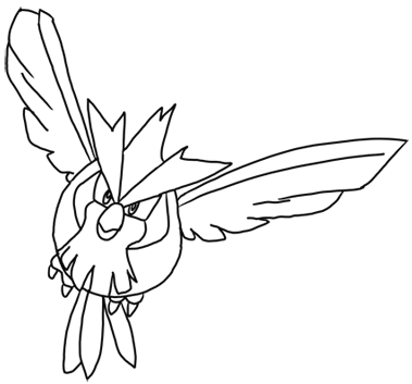 Finished Pen Drawing of Pidgey - How to Draw Step by Step Drawing