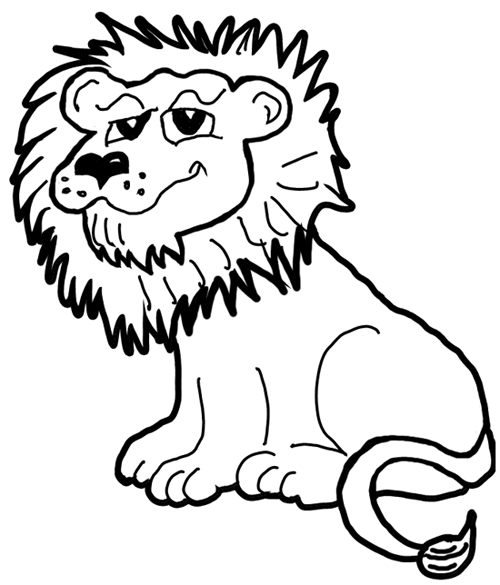 Line Art Jungle Animals : How to draw cartoon lions jungle animals step by