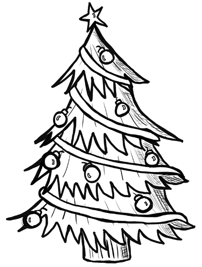 Christmas Tree Line Drawing Images : How to draw christmas trees step by drawing lesson