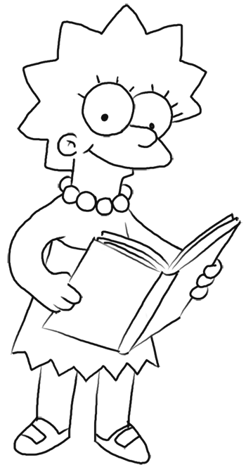 how to draw lisa simpson step by step easy
