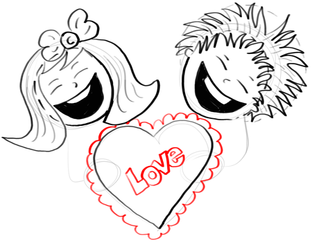 Step 14 How To Draw Boy And Girl Holding Love Hearts For Valentine S