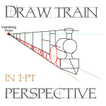 Drawing Trains in 1 Point Perspective with Easy Step by Step Tutorial