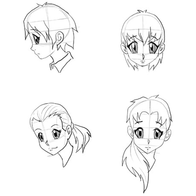 Draw Anime Faces Heads Drawing Manga Step By Tutorials