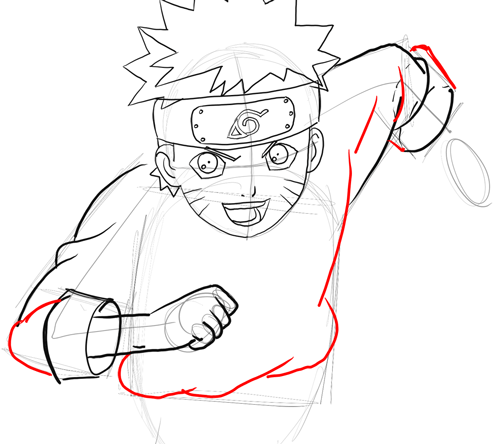 Step 11 - Drawing Naruto in Simple Steps Lesson for Kids