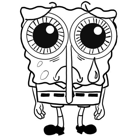 Finished Drawing Of Depressed Crying Sad Spongebob Squarepants