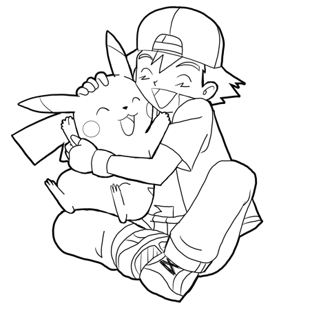 How to Draw Ash Hugging Pikachu with Easy Steps Drawing Lesson