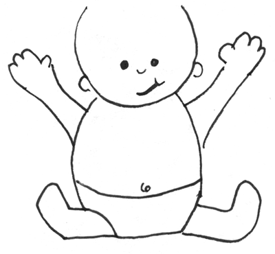 step 6 drawing simple cartoon baby with easy drawing lesson for kids - Outline Drawing For Kids
