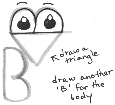 Step 3 Drawing Cartoon Birds with Alphabet Letter B for Kids