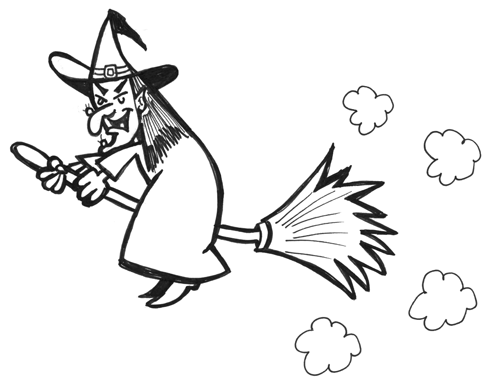 How To Draw Witch Flying Broomstick Halloween Drawing Tutorial How
