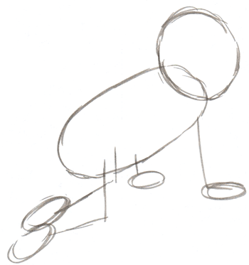 Step 2 : How to Draw a Baby Crawling with simple instructions