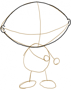 Step 2 - How to Draw Stewie from Family Guy