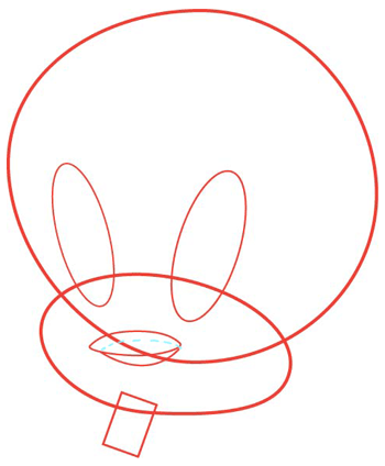 Step 2 : Drawing Tweety Bird with Simple Step by Step Instructions
