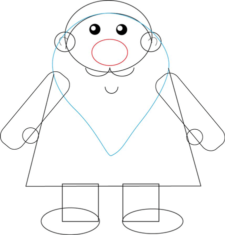 Step 4 : Drawing Santa Clause's Body with Basic Shapes