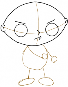 Step 3 - How to Draw Stewie from Family Guy