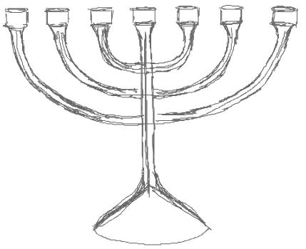 Step 4 : Drawing Hanukkah Menorahs with Easy Steps