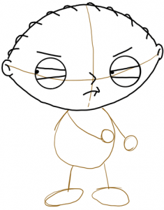 Step 4 - How to Draw Stewie from Family Guy