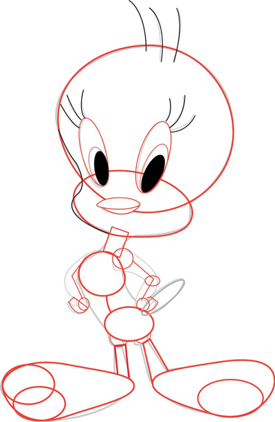 step 4 drawing tweety bird with simple step by step instructions