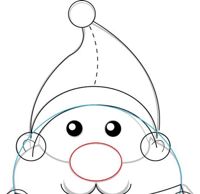 Step 5 : Drawing Santa Clause's Body with Basic Shapes