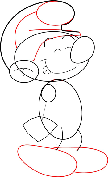 Step 5 : How to Draw Smurfs with Easy Steps